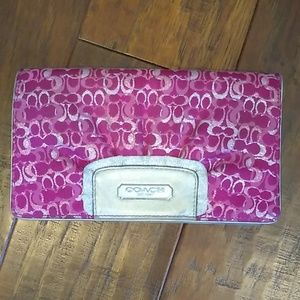 Coach Wallet - pink and silver coach logo